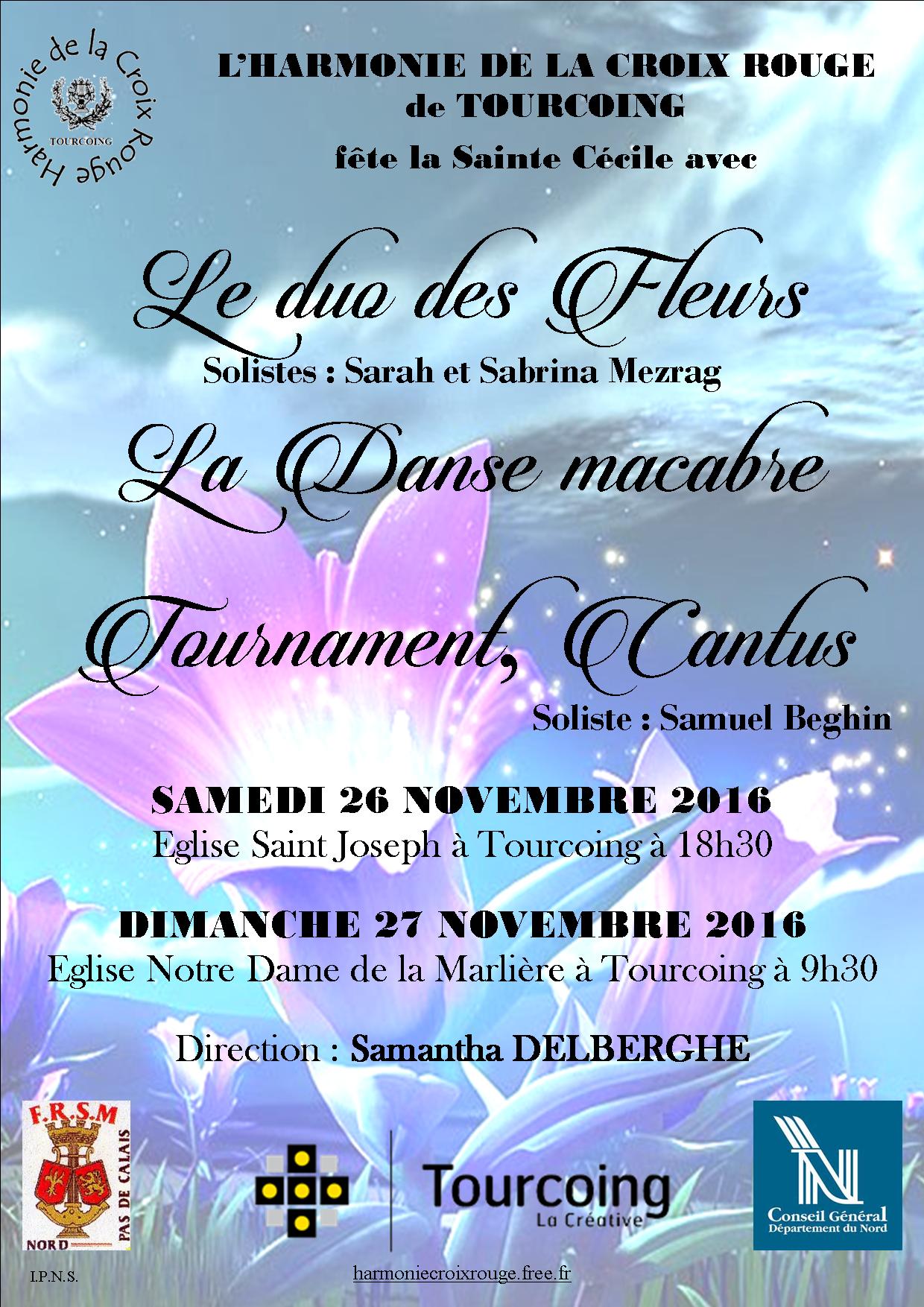 Affiche concerts de Sainte Cécile 2016